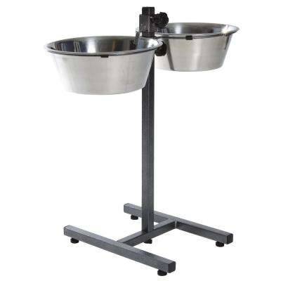 23.5 in. H Dog Bowls with Adjustable Stand 2 Stainless Steel Bowls