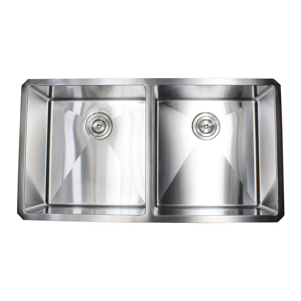Undermount Stainless Steel 37 in. x 20 in. x 10 in. 16-Gauge 50/50 Double Bowl Kitchen Sink
