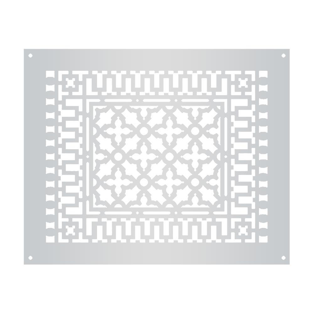 Scroll 18 in. x 14 in. Aluminum Grille with Mounting Holes,