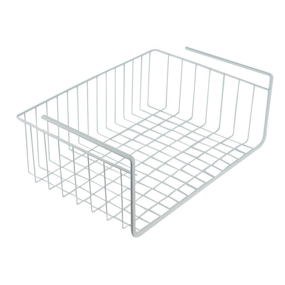 southern homewares steel white wire under shelf storage organization basket-sh-10126