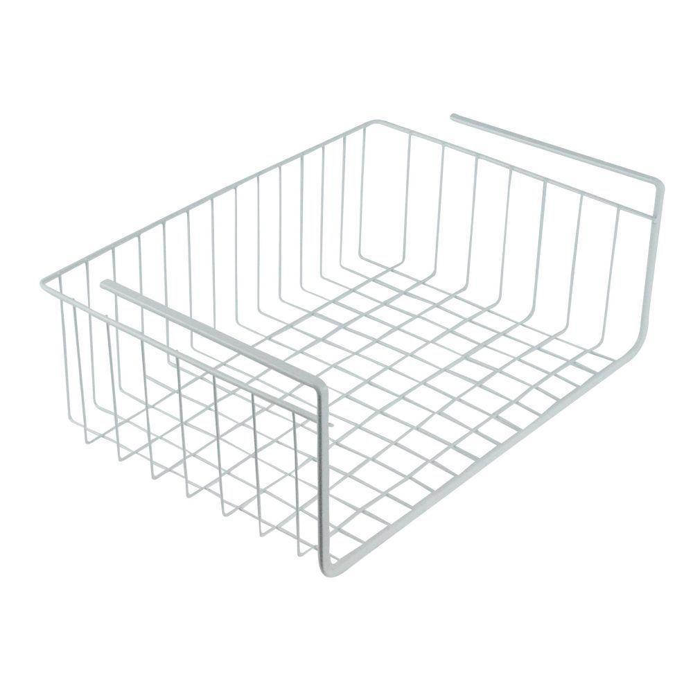 Steel White Wire Under Shelf Storage Organization Basket