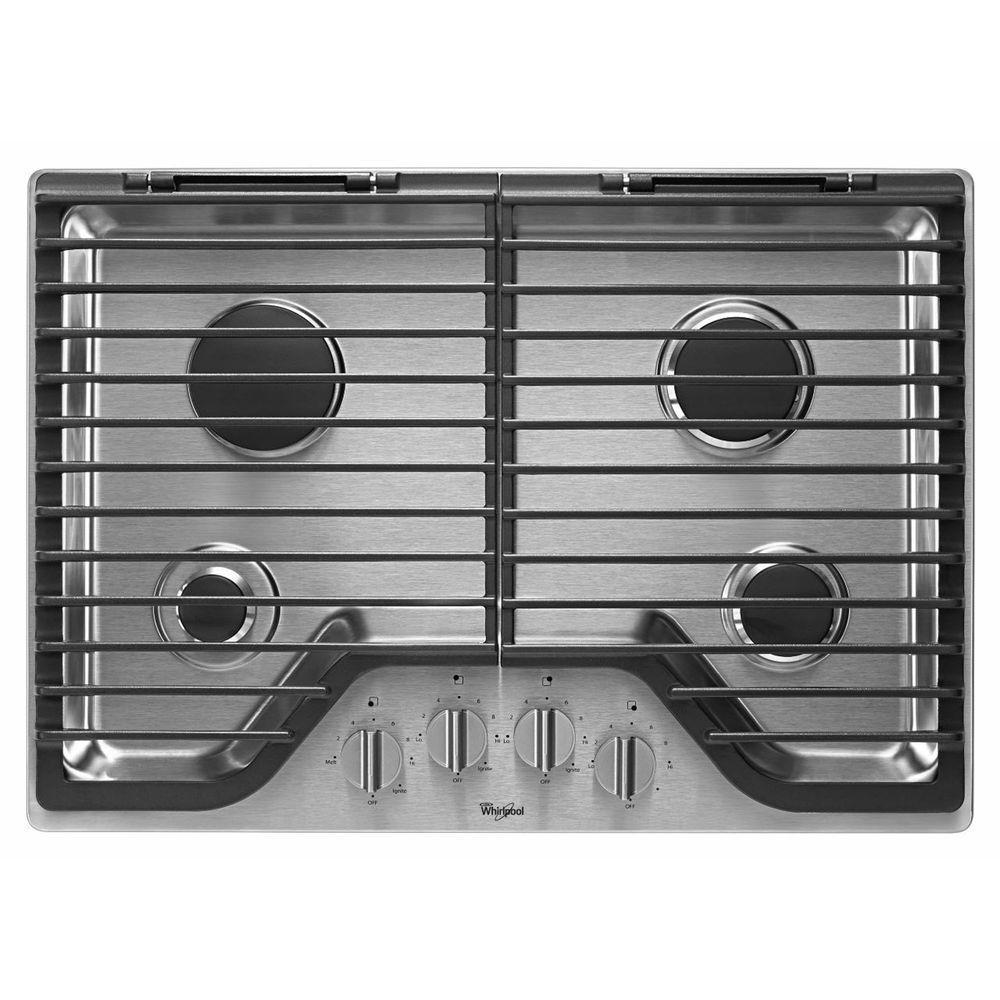 30 in. Gas Cooktop in Stainless Steel with 4 Burners including 18000-BTU SpeedHeat Burner