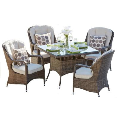 Salons Outdoor 5-Piece Wicker Square Outdoor Dining Set with Beige Cushions