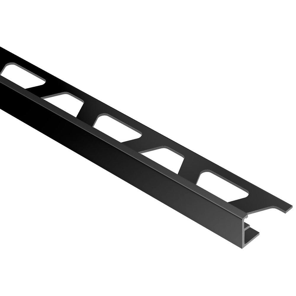 Schluter Jolly Bright Black Anodized Aluminum 1/4 in. x 8 ft. 2-1/2 in. Metal Tile Edging Trim