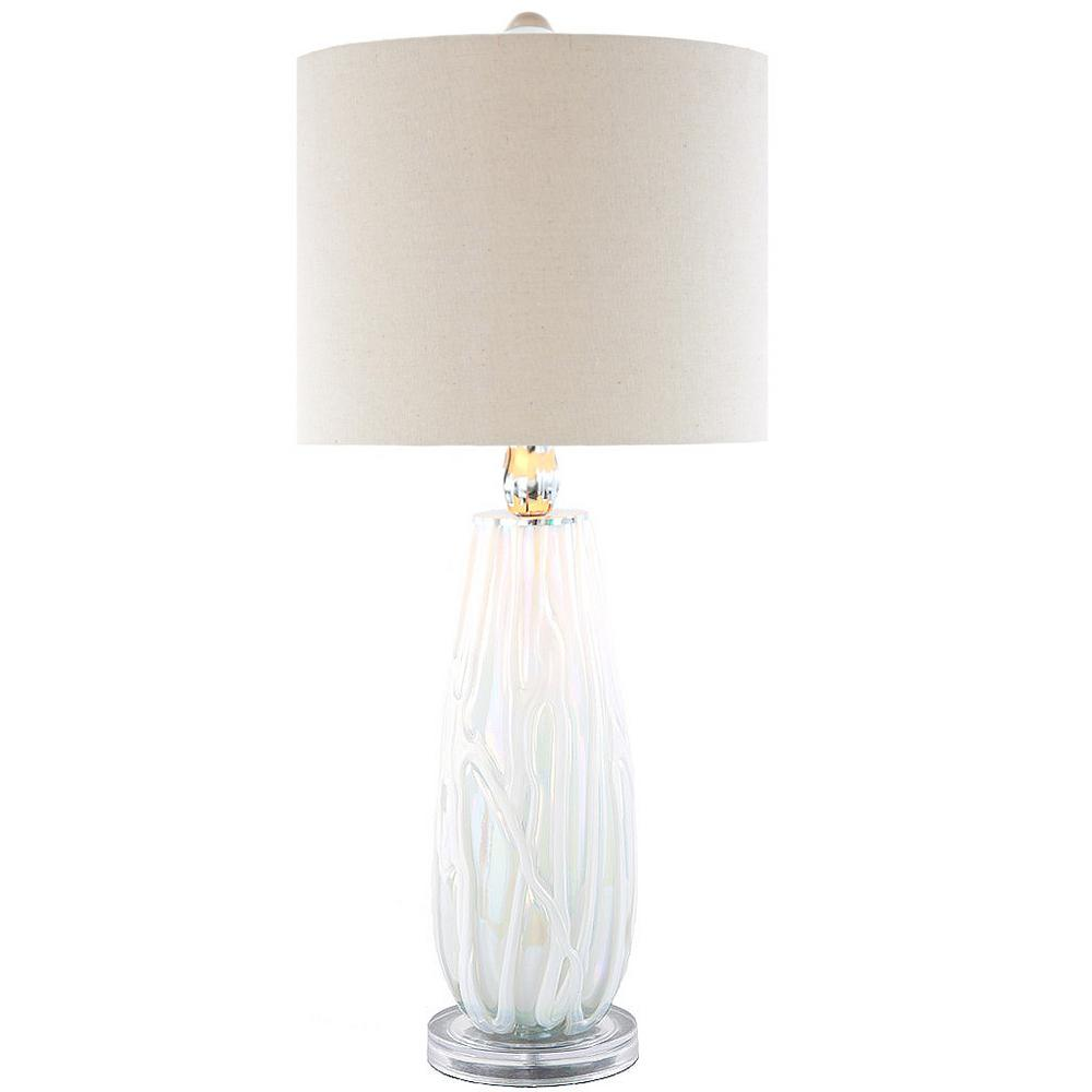 White Table Lamp With Sophisticated Serenity Glass Base And Linen