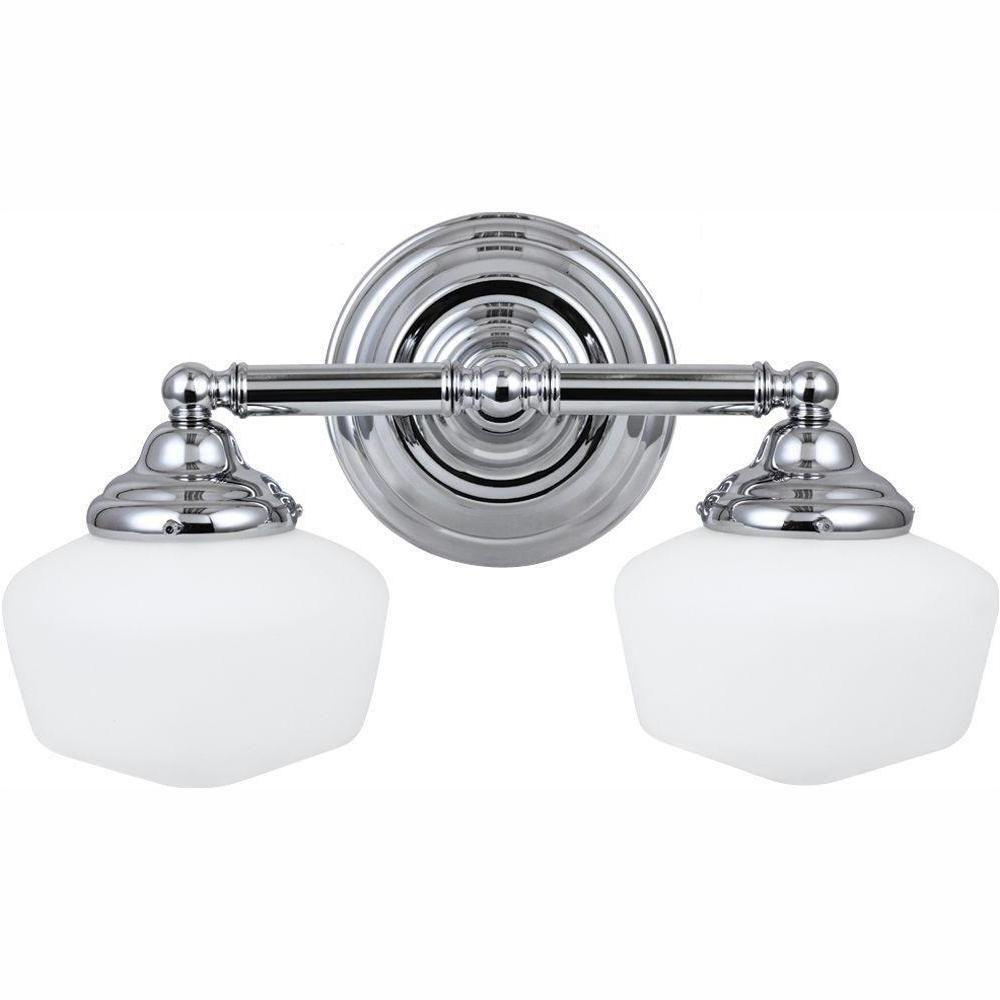 Academy 2-Light Chrome Vanity Light with LED Bulbs