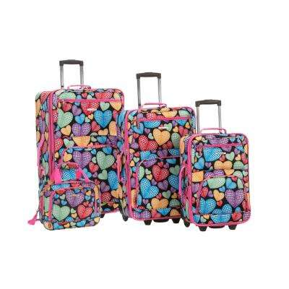 Rockland Expandable Jungle 4-Piece Softside Luggage Set, Newheart