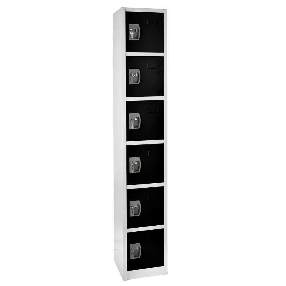 72 in. x 12 in. x 12 in. 6-Compartment Steel Tier Key Lock Storage Locker in Black
