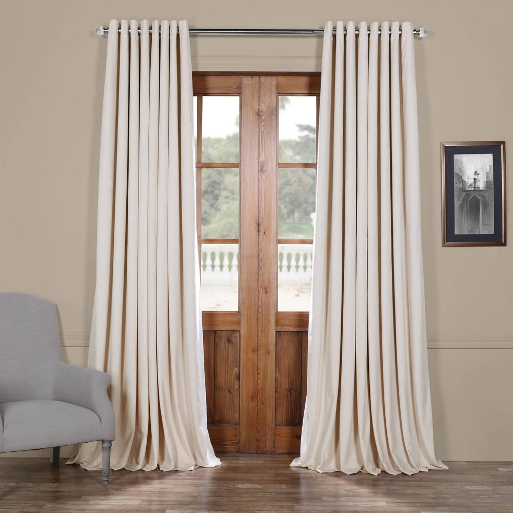 Exclusive Fabrics & Furnishings Signature Ivory Doublewide Grommet Blackout Velvet Curtain - 100 in. W x 84 in. L