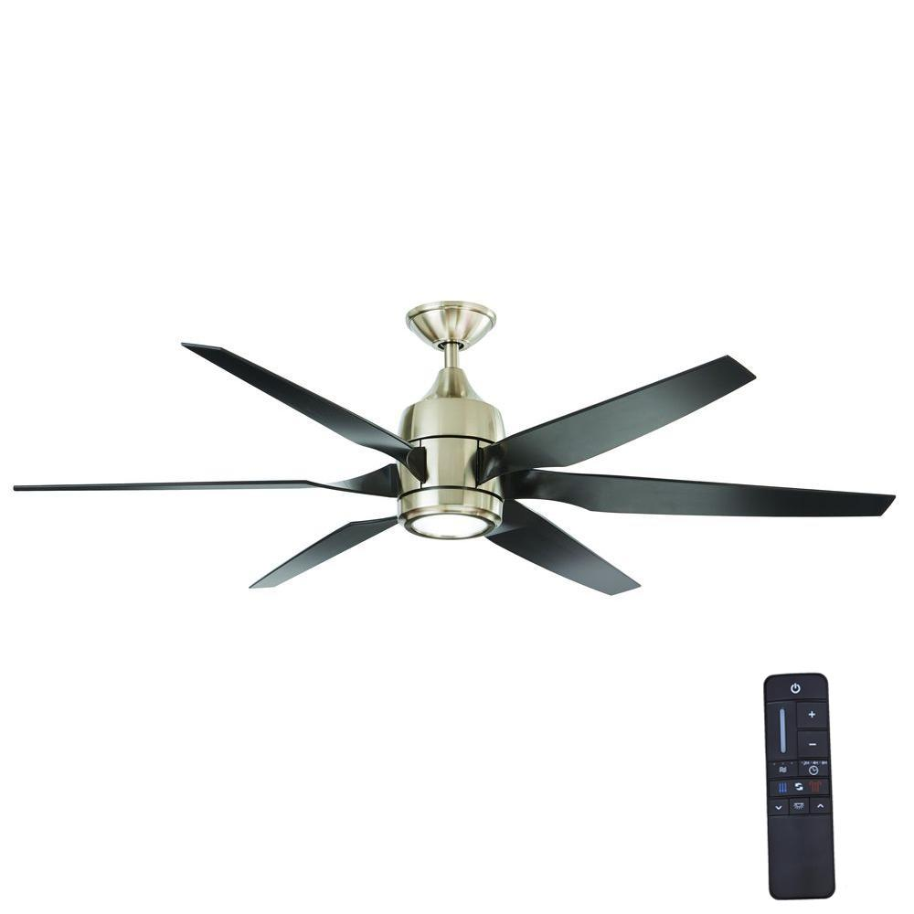 Fan With Light And Remote Part - 44: Home Decorators Collection Kelbra 60 In. LED Indoor Brushed Nickel Ceiling Fan  With Light Kit