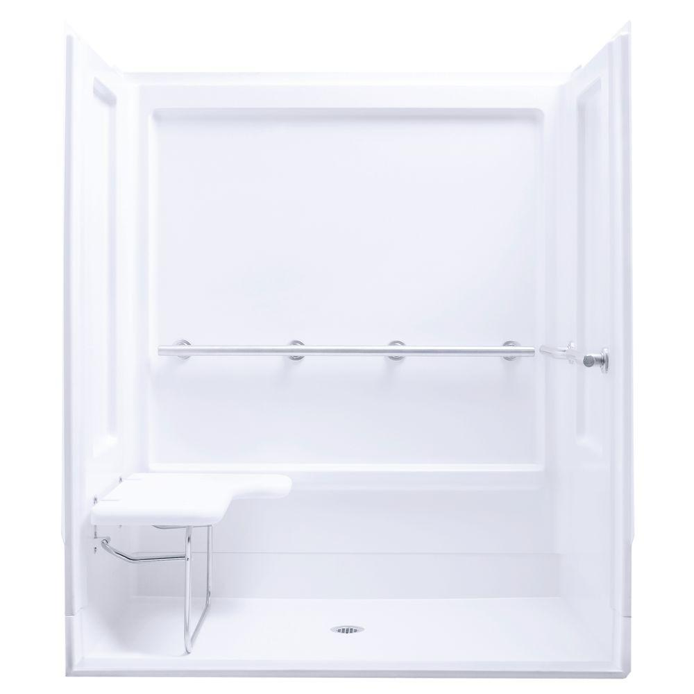 STERLING ADA 63-1/4 in. x 39-3/8 in. x 72 in. Shower Kit in White ...