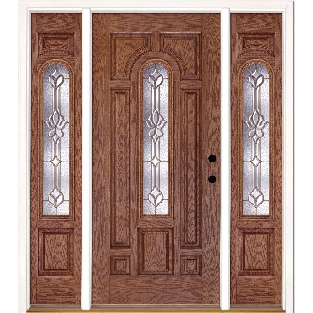 Feather River Doors 63.5 in.x81.625 in. Medina Brass Center Arch Lt Stained Medium Oak Left-Hand Fiberglass Prehung Front Door w/ Sidelites