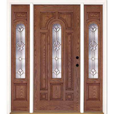63.5 in.x81.625 in. Medina Brass Center Arch Lt Stained Medium Oak Left-Hand Fiberglass Prehung Front Door w/ Sidelites