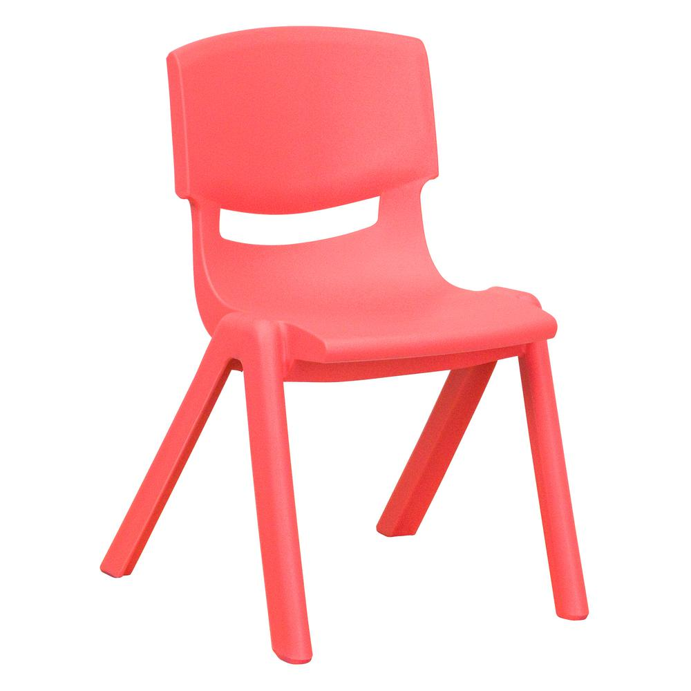 Red Plastic Stackable School Chair with 12 in. Seat Height