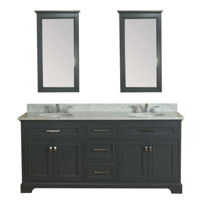 Yorkshire 73 in. W x 22 in. D Vanity in Gray with Marble Vanity Top in White with White Basin and Mirror