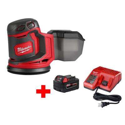 M18 18-Volt Lithium-Ion Cordless 5 in. Random Orbit Sander with M18 Starter Kit (1) 5.0Ah Battery and Charger