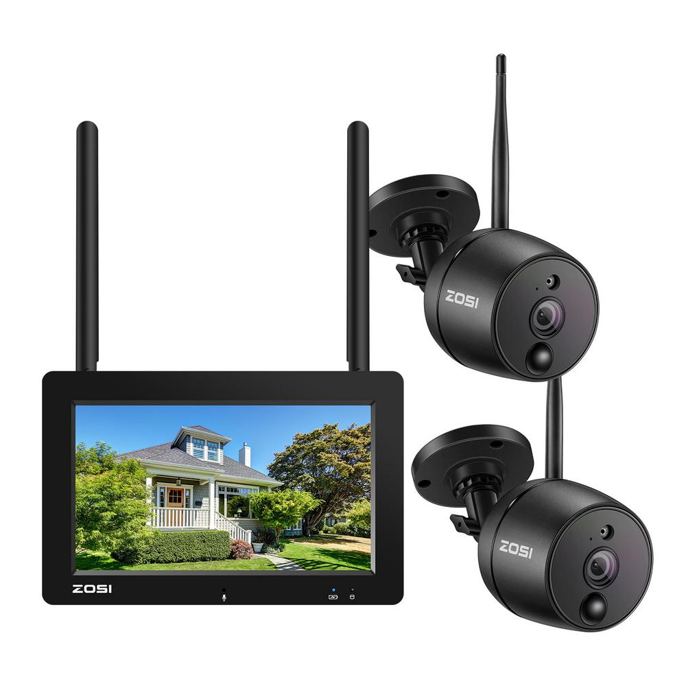 """ZOSI 4-Channel 1080P Surveillance System with 2 Wireless Cameras All-in-one 7"""" LCD Monitor PIR Motion Detection 2-Way Audio"""