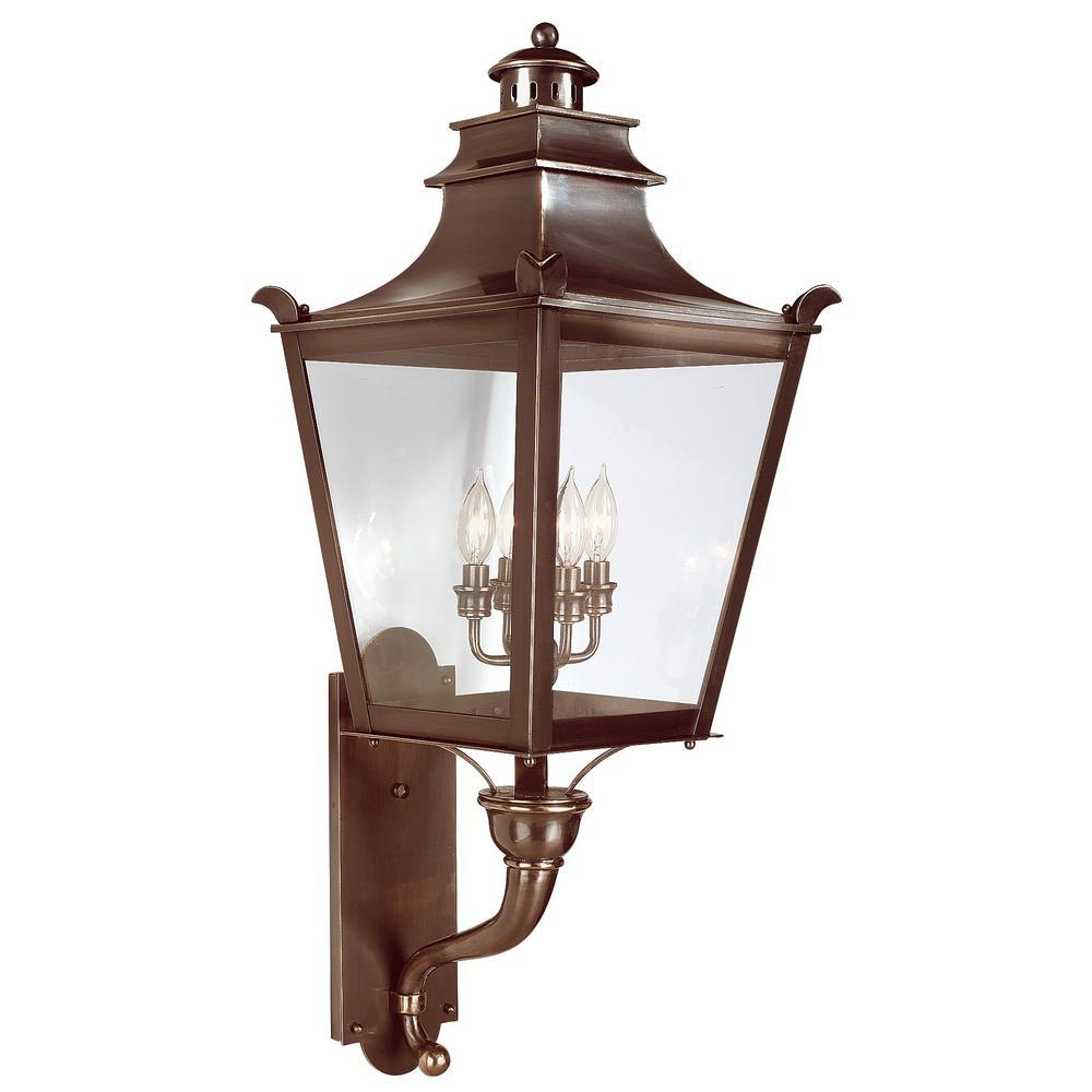 Dorchester 4-Light English Bronze Outdoor Wall Lantern Sconce
