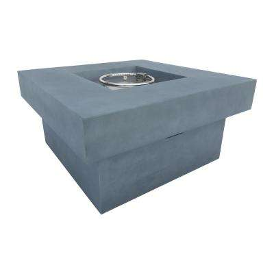 Marquee 36 in. W Square Stone Propane Outdoor Patio Fire Pit in Light Grey with Concrete Texture