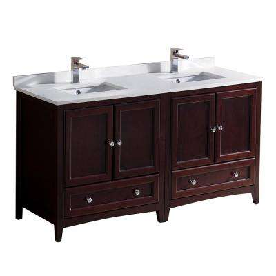 Oxford 60 in. Double Vanity in Mahogany with Quartz Stone Vanity Top in White with White Basins