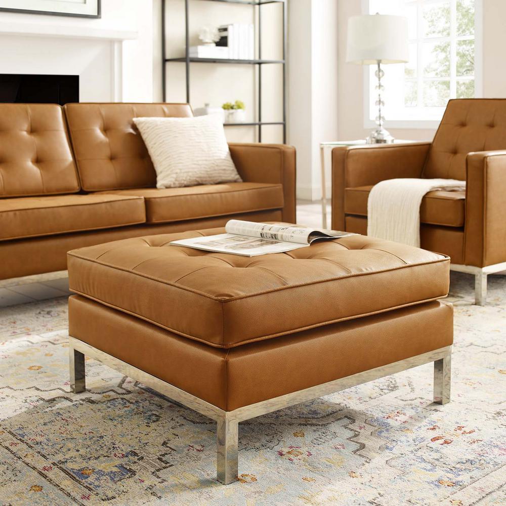 Sensational Modway Loft Tufted Silver Tan Upholstered Faux Leather Inzonedesignstudio Interior Chair Design Inzonedesignstudiocom