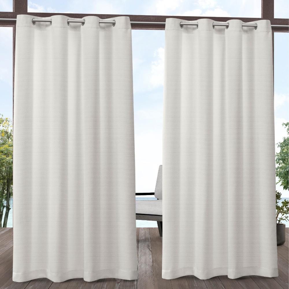 Aztec 54 in. W x 96 in. L Indoor Outdoor Grommet Top Curtain Panel in Vanilla (2 Panels)