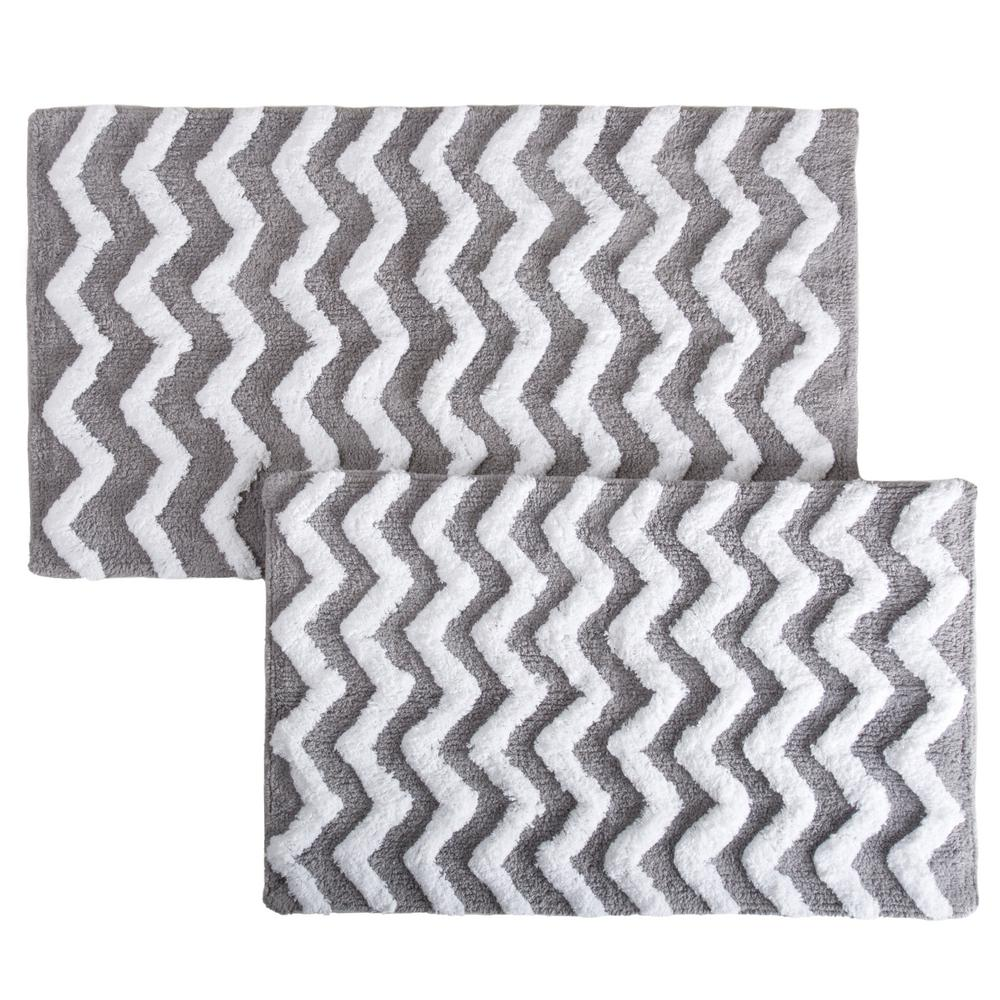 Lavish Home Chevron Silver 24.5 In. X 41 In. 2 Piece Bathroom Mat
