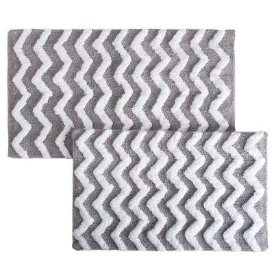 Chevron Silver 24.5 in. x 41 in. 2-Piece Bathroom Mat Set