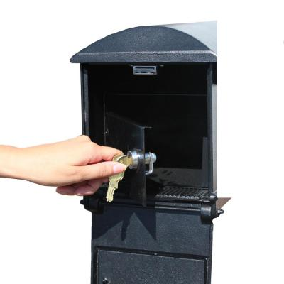 Lewiston Black Post Mount Locking Insert Mailbox With Decorative Fluted Base And Ball Finial Lml 804 Bl The Home Depot