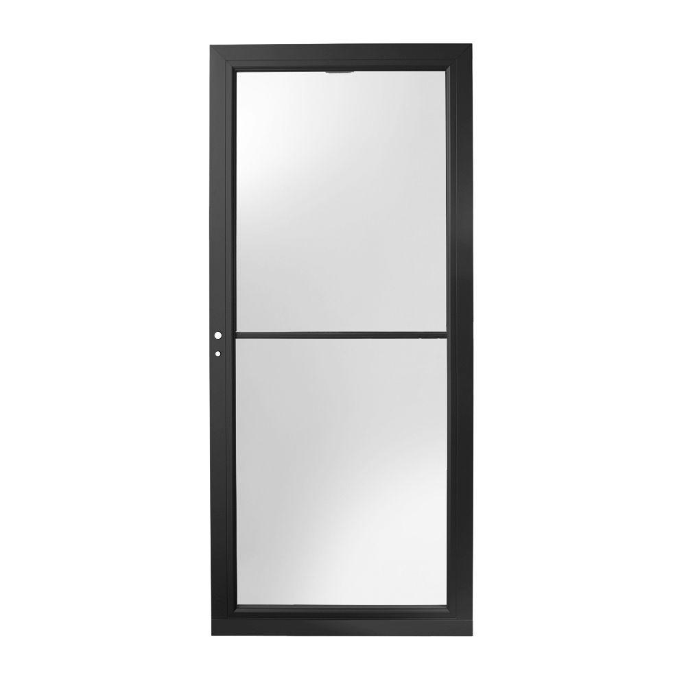36 in. x 80 in. 3000 Series Black Left-Hand Self-Storing Easy Install Aluminum Storm Door