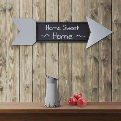 Grey Arrow Wall Mounted Wood/Metal Chalkboard
