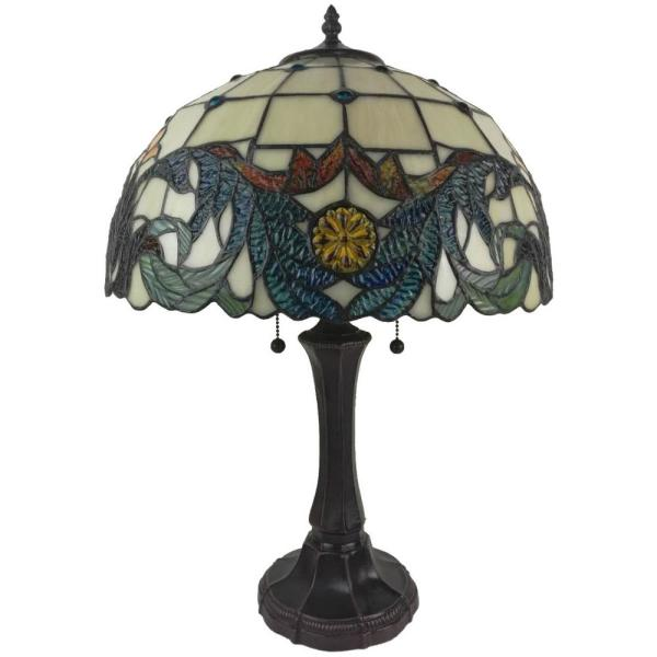 23 in. Tiffany Style Banker Multicolor Table Lamp
