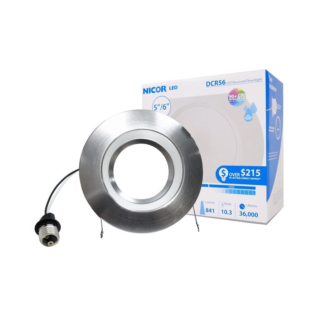 5 in. and 6 in. Downlight Nickel 800-Lumen Integrated LED Recessed Trim Retrofit Light