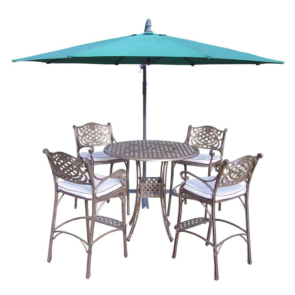 Oakland Living Elite Cast Aluminum 6 Piece Round Patio Bar Height Dining Set With Oatmeal Cushions And Umbrella Hd1101 2110 Cu 4110 Gn 10 Ab The Home