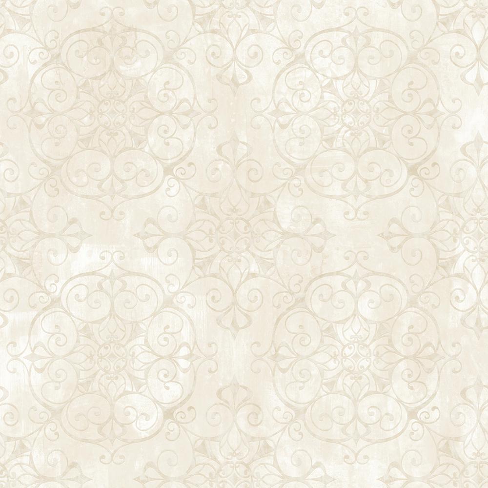 Aubrey Milk Crystal Medallion Texture Wallpaper Sample