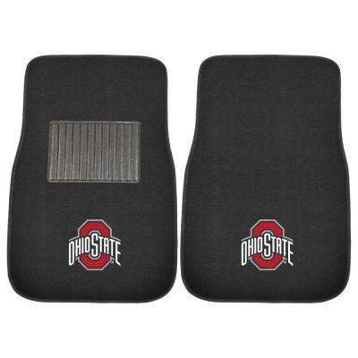 NCAA Ohio State University 2-Piece 17 in. x 25.5 in. Carpet Embroidered Car Mat