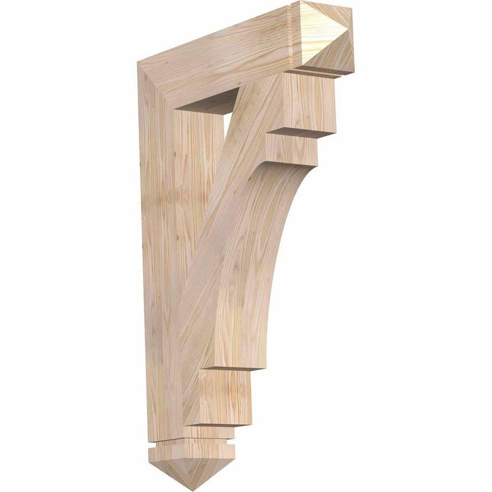 Ekena Millwork 5.5 in. x 40 in. x 28 in. Douglas Fir Merced Arts and Crafts Smooth Bracket