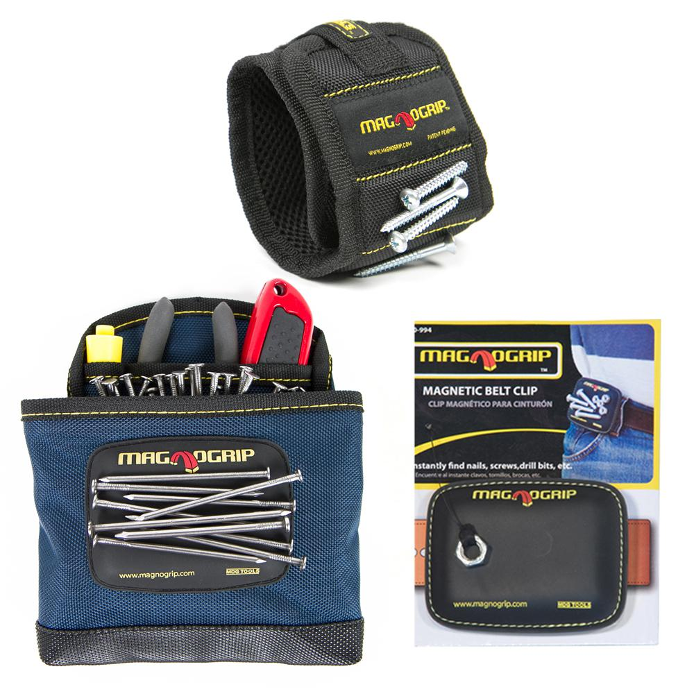 MagnoGrip Magnetic Wristband, Magnetic Belt Clip and Magnetic Clip-On Pouch Set (3-Pack)