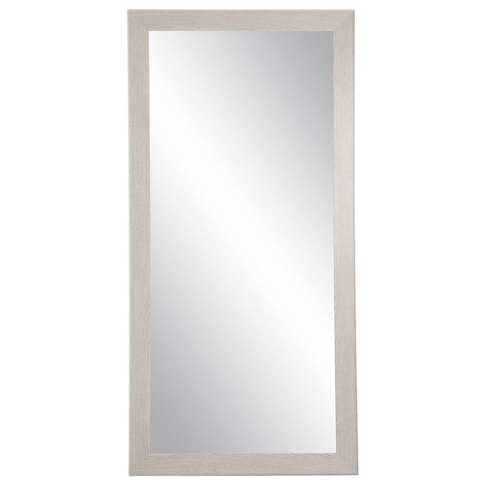 Oversized Light Gray Wood Grain Wood Hooks Modern Farmhouse Mirror (71 in. H X 32 in. W)