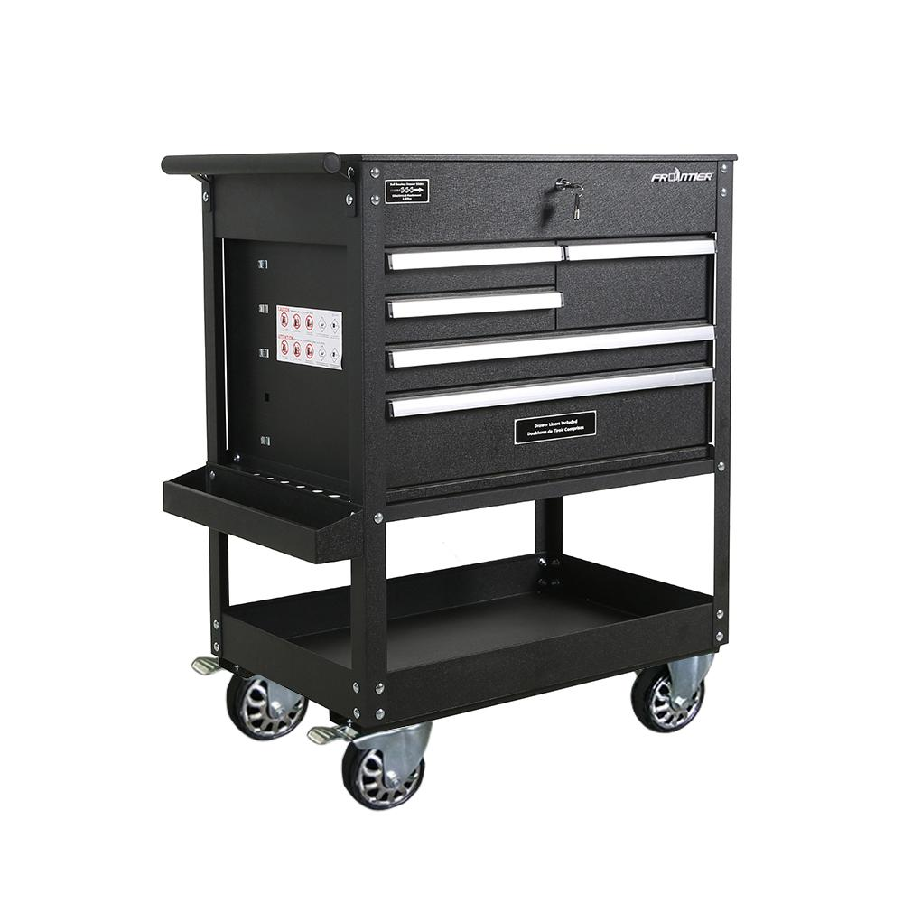 Frontier 32.75 inch 5-Drawer Tool Utility Cart in Black