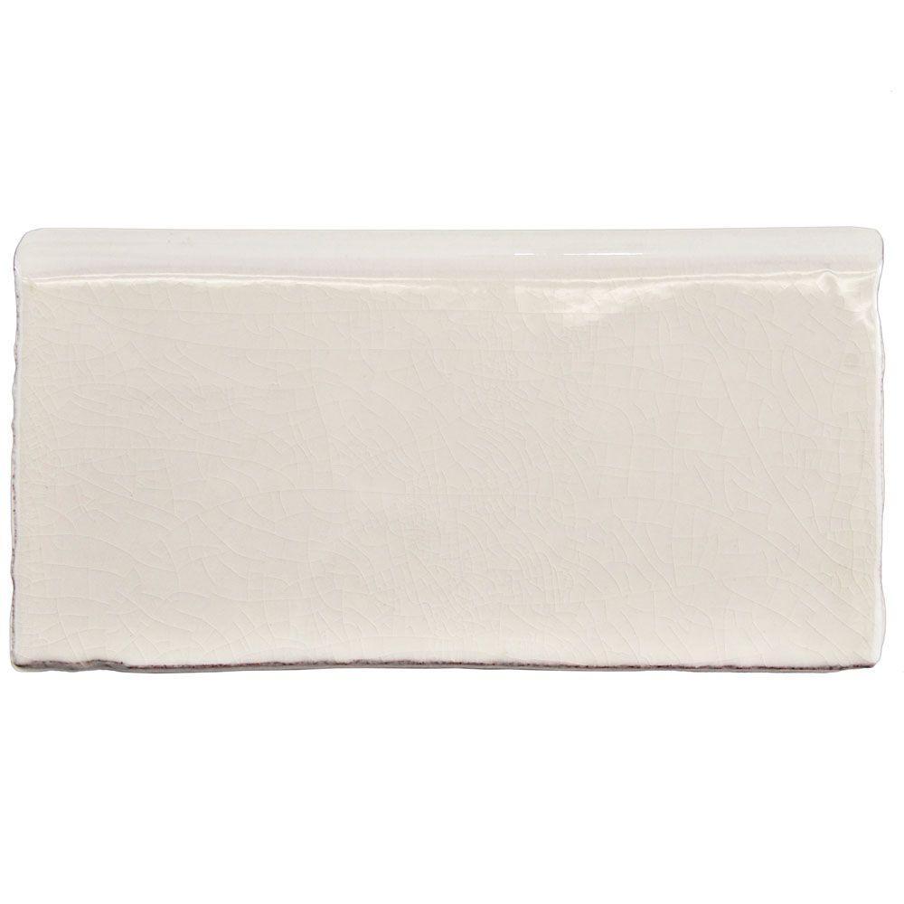 Antic Craquelle White 3 in. x 6 in. Ceramic Bullnose Wall Trim Tile
