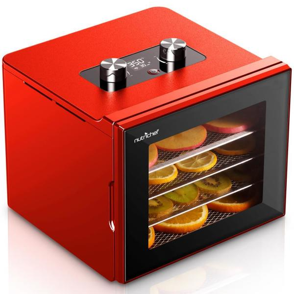 4-Tray Red 350 Watt Premium Food Dehydrator Machine with Digital Timer and Temperature Control
