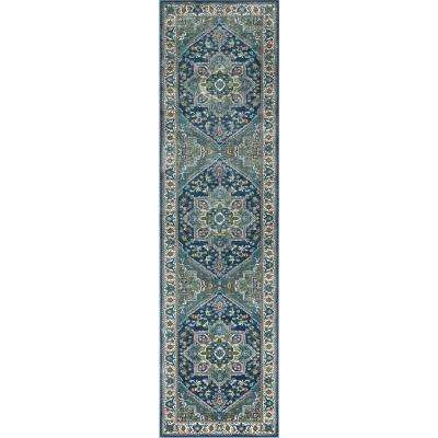 Tulsa Jackie Traditional Medallion Blue 2 ft. 7 in. x 9 ft. 10 in. Runner Rug