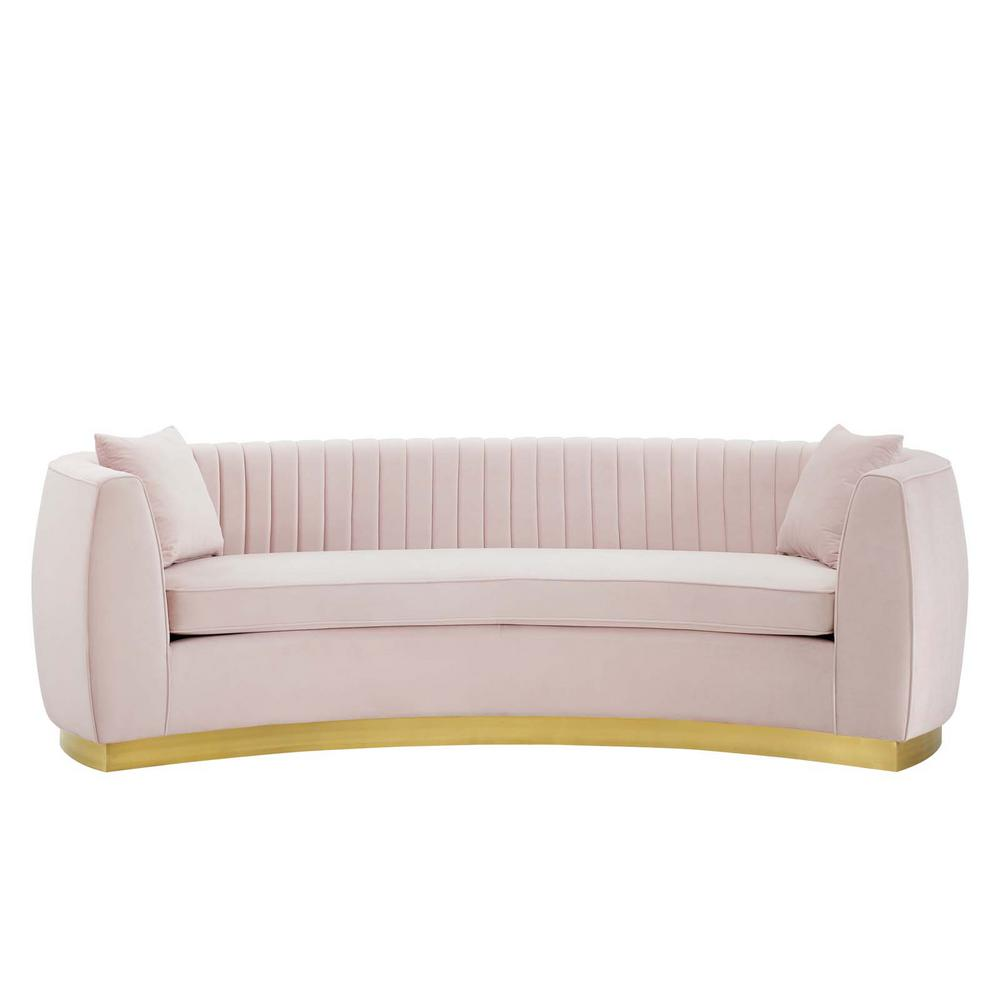 Modway Enthusiastic Pink Channel Tufted Velvet Seater Curved