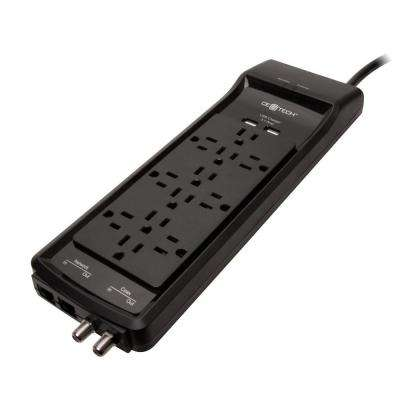6 ft. 12-Outlet USB RJ45 Coax Surge Protector