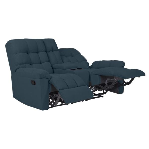 2 Seat Tufted Recliner Loveseat With Storage Console In Caribbean Blue Plush Low Pile Velvet