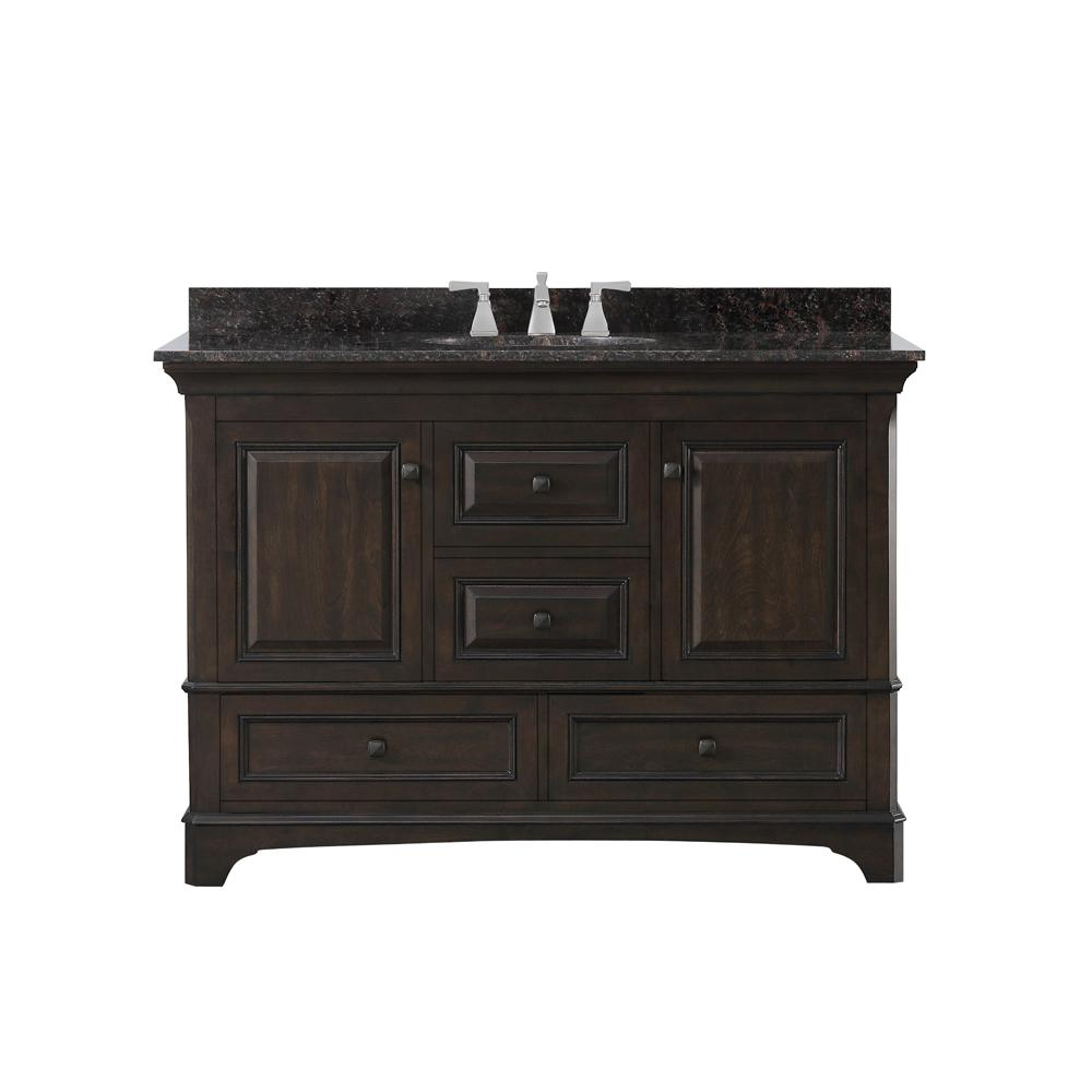 Home Decorators Collection Moorpark 49 in. W Bath Vanity in Burnished Walnut with Granite Vanity Top in Brown with White Basin