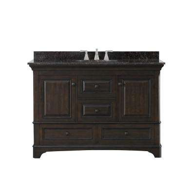 Moorpark 49 in. W Bath Vanity in Burnished Walnut with Granite Vanity Top in Brown with White Basin
