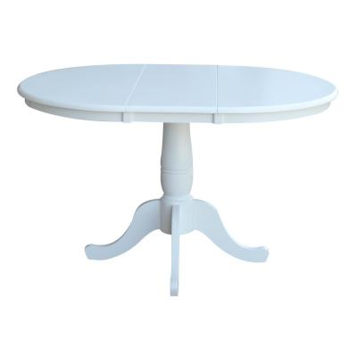 36 in. x 48 in. x 30 in. H Pure White Extension Laurel Pedestal Table