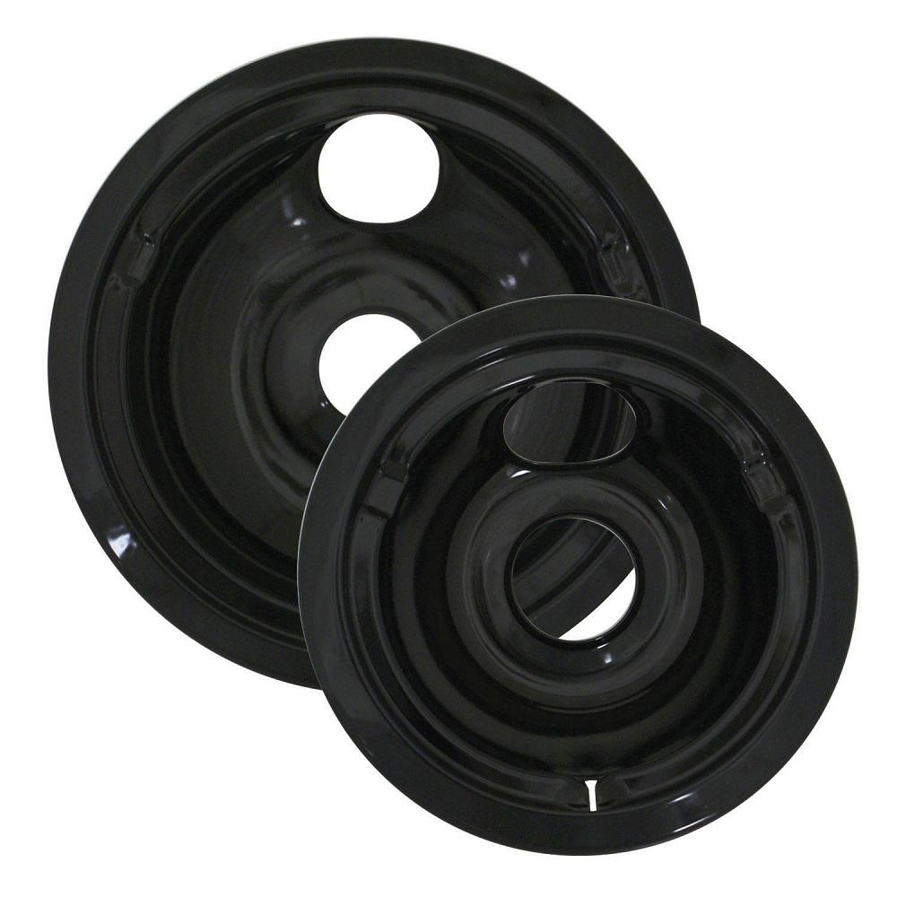 Range Kleen 6 In Small And 8 In Large Drip Bowl In Black